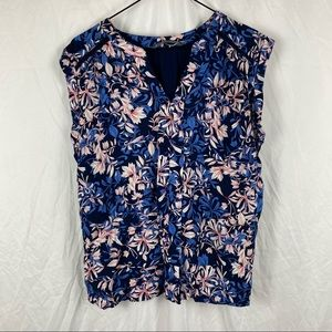 Women's Katies Blue Floral Short Sleeve Pullover Blouse Size L